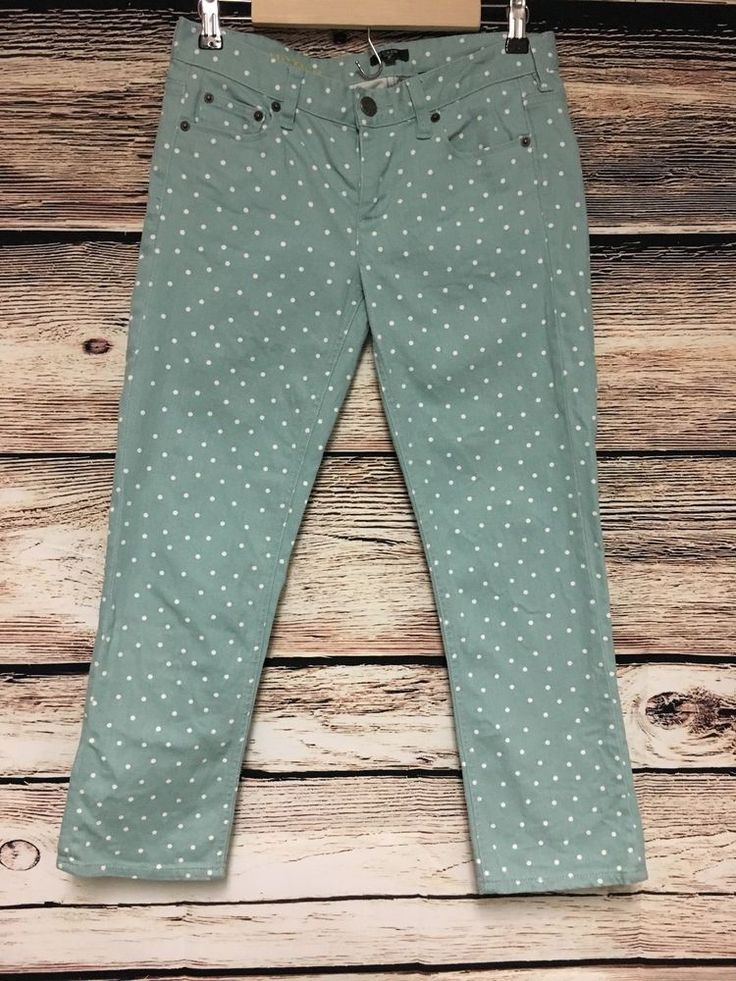 J Crew Size 27 Factory Cropped Matchstick Jeans Polka Dot Stretch  #JCrew #StraightLeg