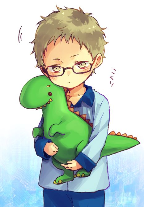Haikyuu!! | Tsukishima Kei. He looks so adorable with his little dinosaur toy...Makes me wanna punch his cute wittle face.