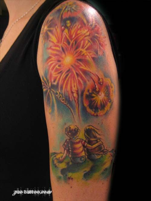 love fireworks bright tattoo by Muriel Zao of Phoenix, AZ
