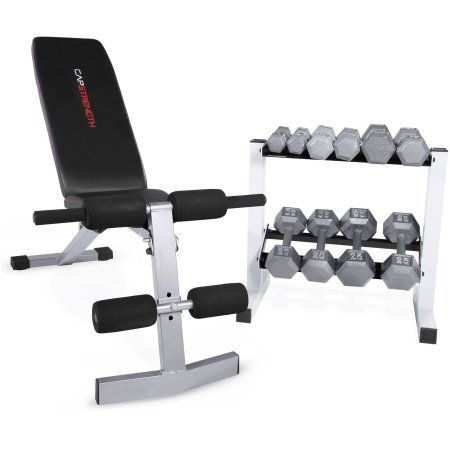 CAP Strength FID Bench with 150 lb Dumbbell Set. FID Bench with 150 lb Cast Iron Weight Set. Bench is equipped with has steel construction, high-density upholstery, and a powder coated finish. Rack included for easy and convenient storage. Dumbbell Sizes include: a 5 lb dumbbell pair, a 10 lb dumbbell pair, a 15 lb dumbbell pair, a 20 lb dumbbell pair, and a 25 lb dumbbell pair.