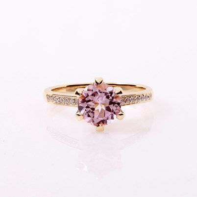 Yellow gold engagement ring with light pink tourmaline and diamonds by TorkkeliJewellery, $1850.00