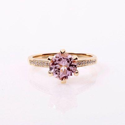 Yellow gold engagement ring with light pink tourmaline and diamonds by TorkkeliJewellery, $1850.00
