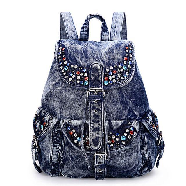 2016 Mulheres Da Moda Sacos De Escola Para Adolescentes Mochilas Denim Bolsa de Ombro Meninas sacos de Viagem Bagpack Bolsas Mochilas Femininas