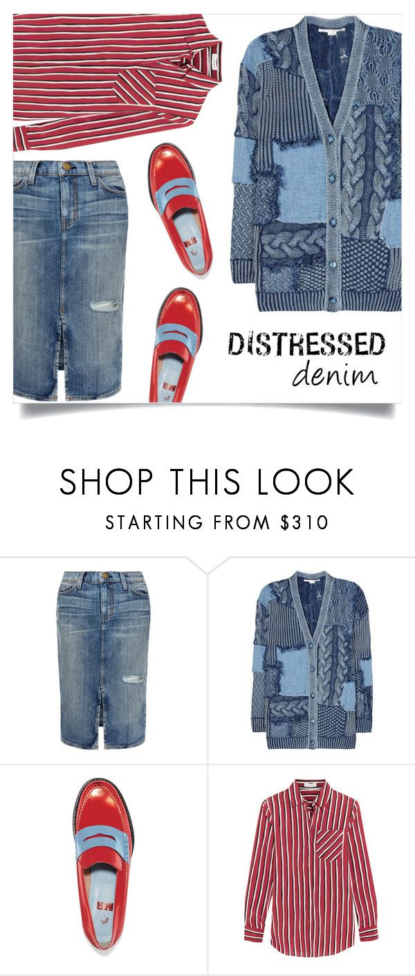 """de-stress in distressed denim"" by collagette ❤ liked on Polyvore featuring Current/Elliott, STELLA McCARTNEY, MR by Man Repeller, Altuzarra, StellaMcCartney, distresseddenim, currentelliott and mrbymanrepeller"