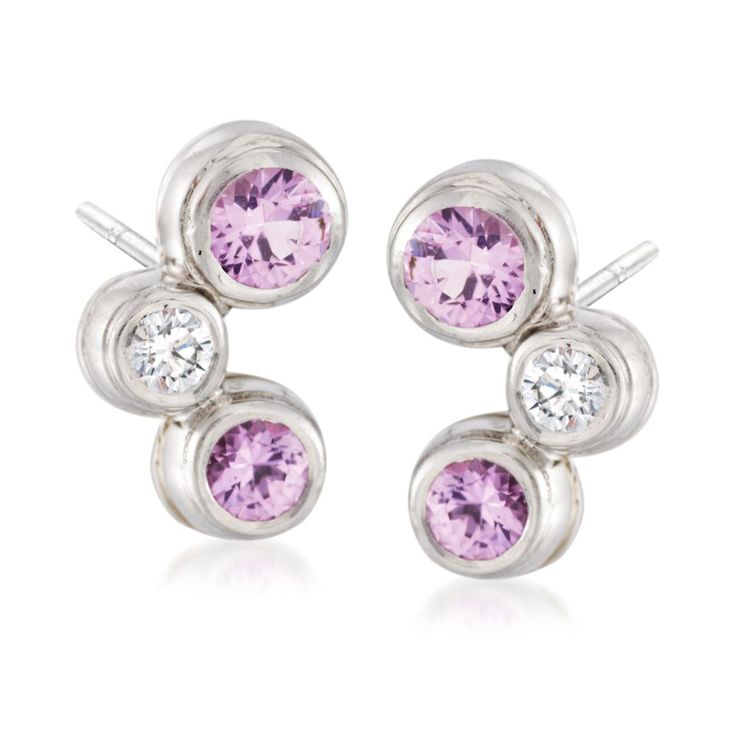 C. 2002. These earrings from our Estate collection bring a lighthearted tone to luxury. In platinum bezels, .75 ct. t.w. of pink sapphires and .10 ct. t.w. round brilliant-cut diamonds stagger this way and that way. Post/clutch, diamond and pink sapphire earrings. <b>Exclusive, one-of-a-kind Estate Jewelry.</b> Free shipping & easy 30-day returns. Fabulous jewelry. Great prices. Since 1952.