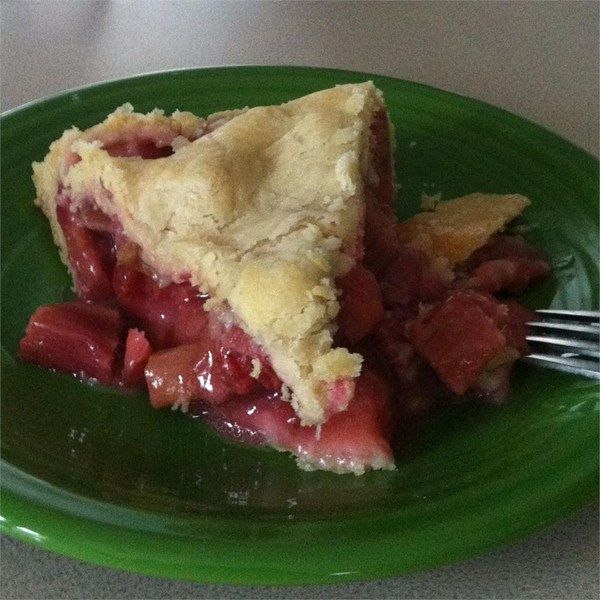 "Fresh Rhubarb Pie | ""I won $100 for 1st prize in a rhubarb pie baking contest with this recipe."""