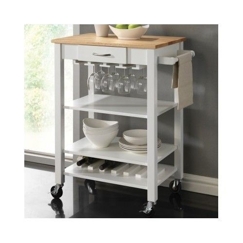 Butcher Block Kitchen Cart Counter Top Rolling Island Bar Modern Dining White