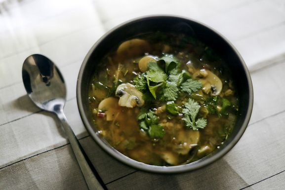 Mushroom Ginger Soup with Hulled Barley