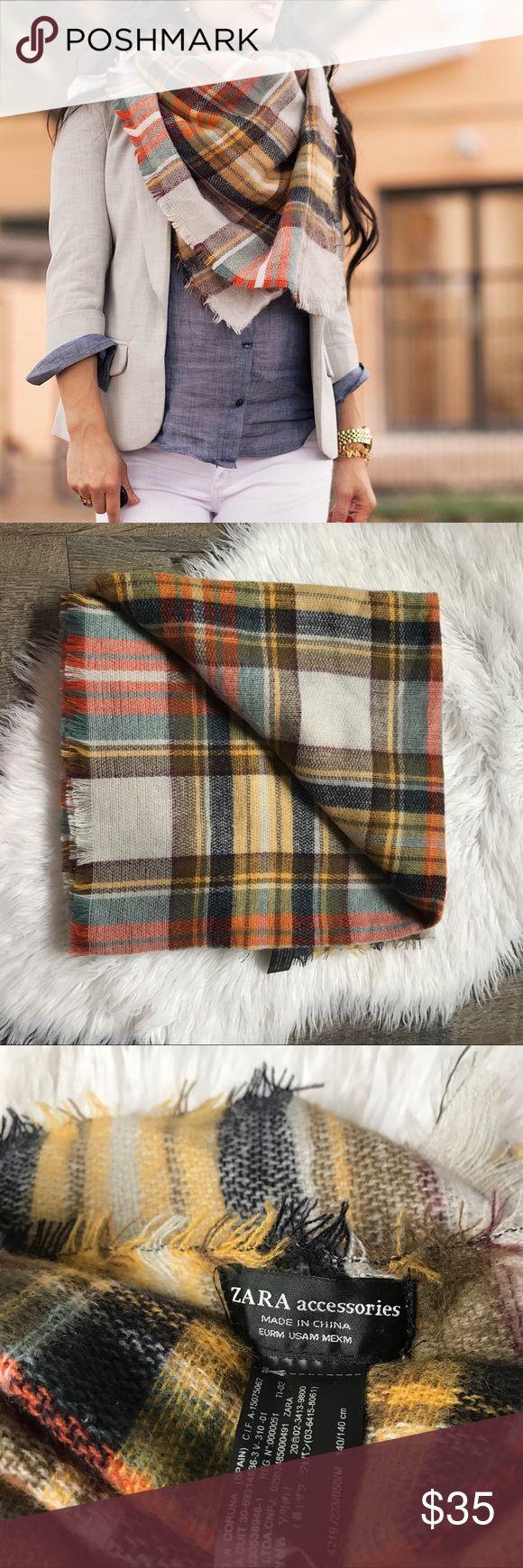 Zara Plaid Tartan Blanket Scarf Super soft neutral colored blanket scarf from Zara. Excellent condition. No trades! Zara Accessories Scarves & Wraps