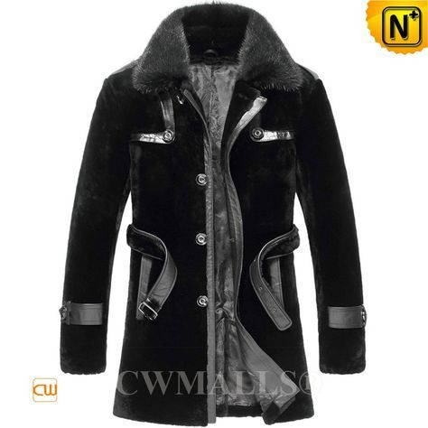 CWMALLS® Men Shearling Fur Coat Black CW807146 Shop men's fur shearling coat at CWMALLS Store, finished with superior fur shearling, black shearling coat featuring a waist belt and mink fur collar for cold-weather comfort, CWMALLS shearling coat keep you feeling warm and comfor while looking graceful. www.cwmalls.com Email: sales@cwmalls.com