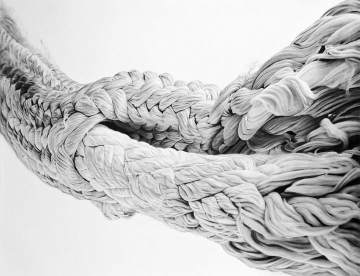 Huguette Despault May - vine charcoal drawings - a rope - These ropes are metaphors for the tension, stress, and entanglements that we experience as human beings