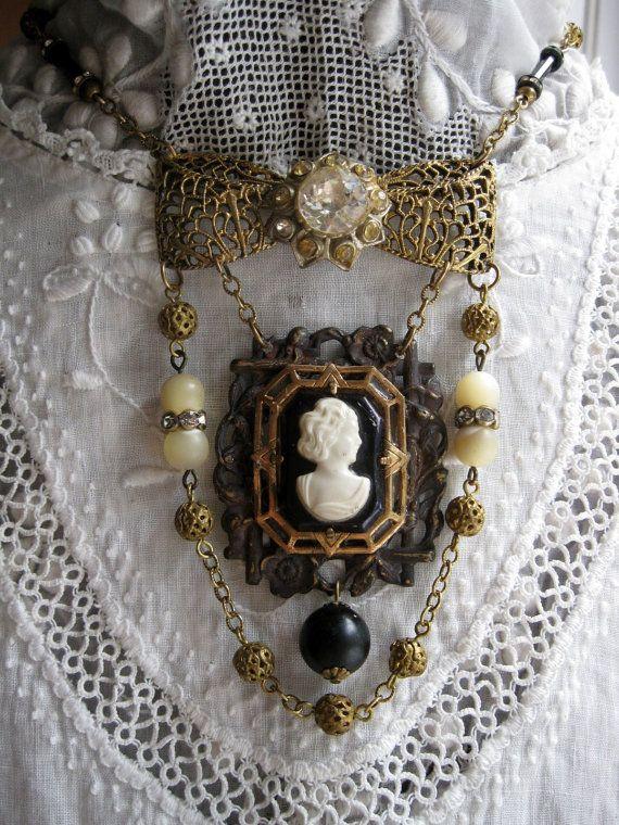 Victorian Inspired Vintage Assemblage Necklace with vintage cameo by VintageWonderlandGA, $105.00