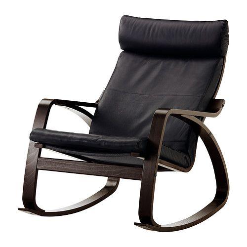 IKEA - POÄNG, Gyngestol, Smidig sort, , Stellet er fremstillet af formspændt og lamellimet bøg, som er et meget stærkt og holdbart materiale.Blødt, slidstærkt læder, der er nemt at vedligeholde og bliver smukkere med årene.Den høje ryg gi'r god støtte til nakken.Et sortiment af forskellige siddehynder gør det nemt at ændre udtryk på POÄNG og i din stue.10 års garanti. Læs betingelserne i garantifolderen.
