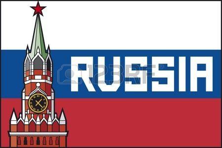kremlin tour avec l horloge dans Moscou Russie affiche de drapeau spasskaya tour du Kremlin de Mosco Banque d'images