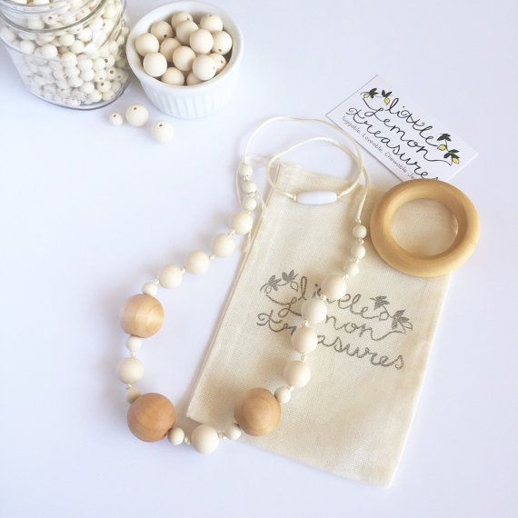 *MEGAN or RILEY* Natural Teething Necklace for Mom Knotted by LittleLemonTreasures