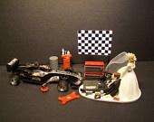 AUTO MECHANIC Formula One Racing car Bride and Groom Wedding Cake Topper Tools Funny
