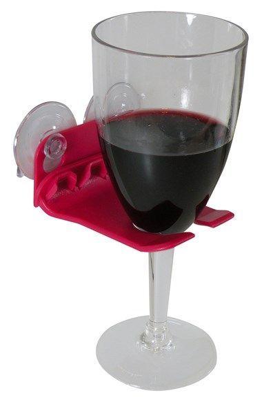 Bathtub wine glass holder - genius!
