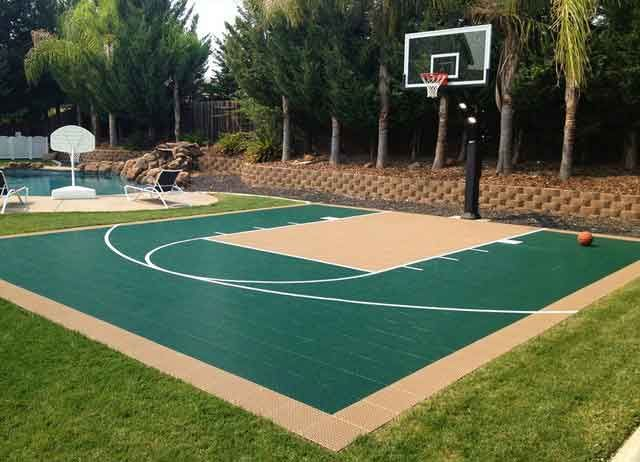 Best 25 backyard basketball court ideas on pinterest for Sport court size