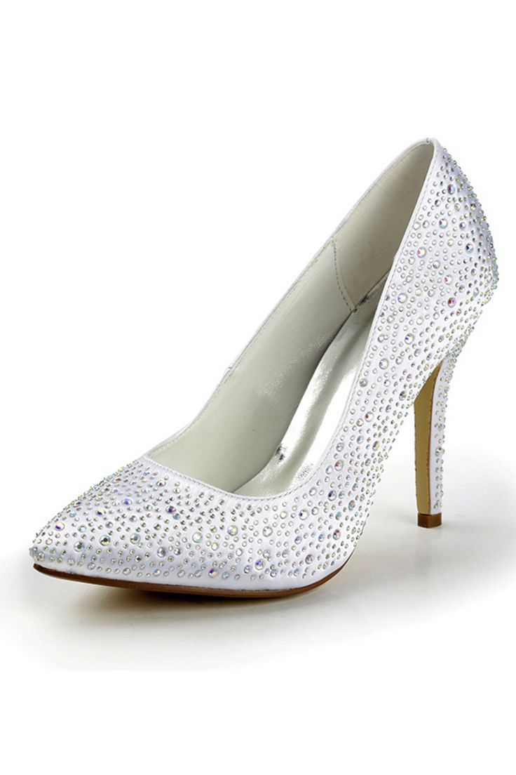 White Women's Satin Stiletto Heel Closed Toe Pumps Full Embellished With  Beads Th12090