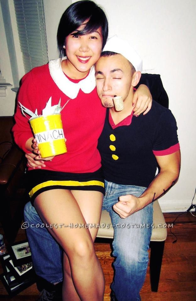 Cheap and Easy Popeye and Olive Oyl Couple Halloween - Cheap Cute Halloween Costumes
