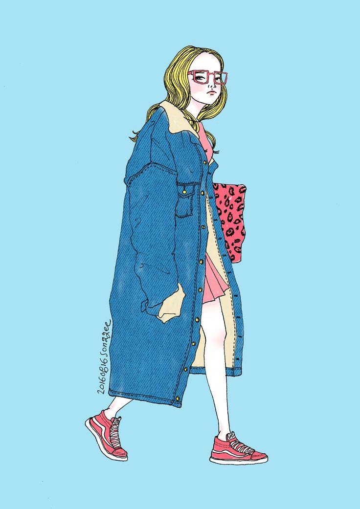 #일러스트레이션 #일러스트 #패션일러스트 #스트릿패션 #스냅 #fashion #fashionillustration #illustration #illust #photoshop #digitalart #digitalpainting #painting #digital #skyblue #pink #denim #coat #songgee #소옹지 #portfolio #포트폴리오 #포토샵 #컬러링 #coloring #포토샵채색
