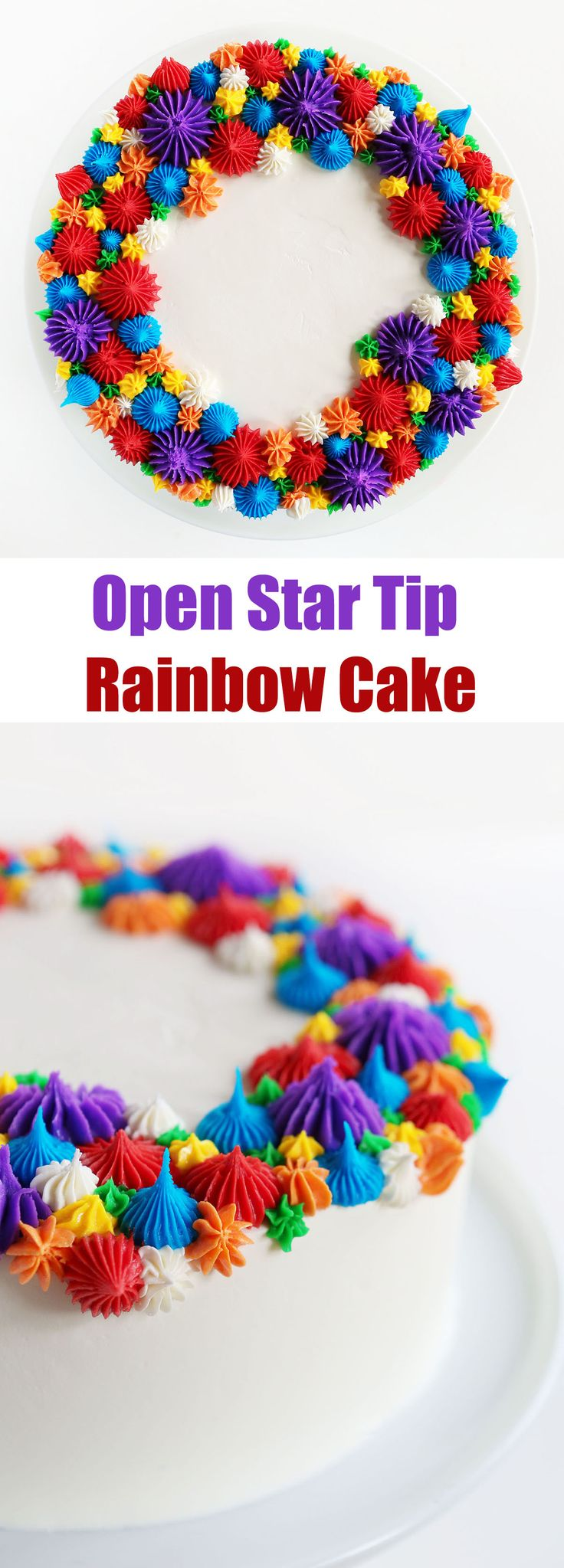 Create a beautiful, show-stopping cake with only open star tips! (Make this for Mother's Day)
