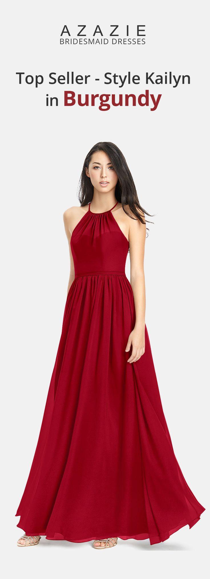 Azazie Style Kailyn in Burgundy, affordable floor-length chiffon bridesmaid dress
