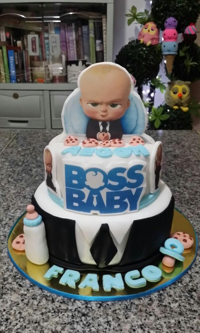 2 Layer Boss Baby Theme Fondant Cake All Edible On