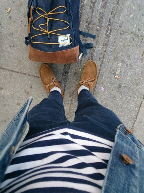 adudecalledandre:    Brown  Clarks - wallabees  Dsquared2 - highwater chinos  Comme des Garcons PLAY - striped sweater  Edwin - denim jacket