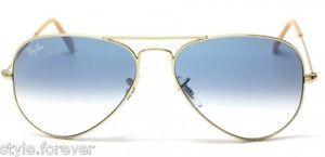 Autentico-Ray-ban-Rb3025-001-3f-Arista-gold-gradient-Lente-Azul-De-58mm