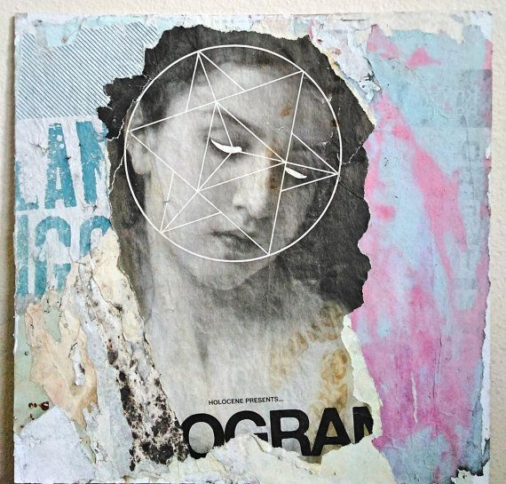 Sacred B 2016 handmade Decollage on 12x12 White Matboard. Created from old posters found around Portland. Sealed with semi-gloss gel medium.