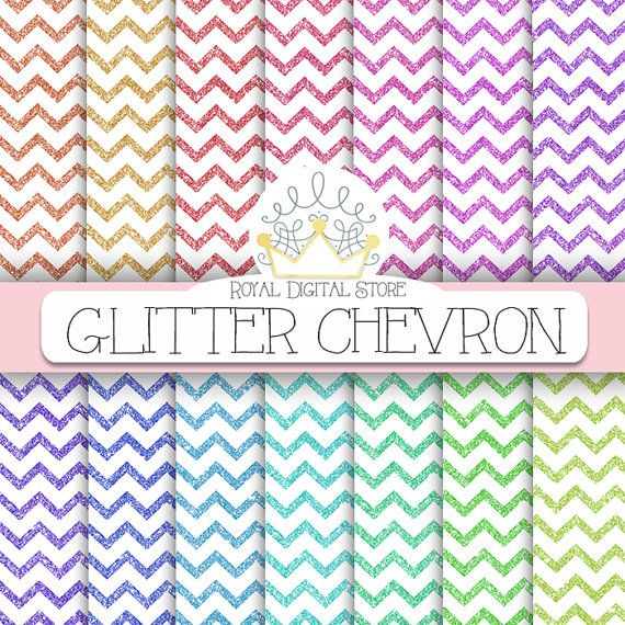 "Glitter Digital Paper: "" Glitter Chevron Digital Paper"" with glitter chevron backgrounds in rainbow, pastel colors for scrapbooking, cards"