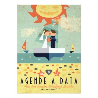 Salvar Veleiro Wedding Vintage Agende a Data Convite