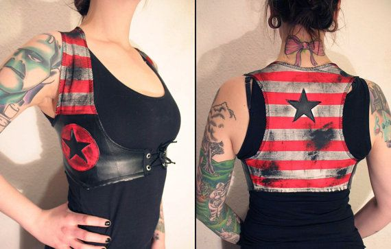 WANT!!! Kissin' Bombs vest with stars by KissinBombs on Etsy, $50.00