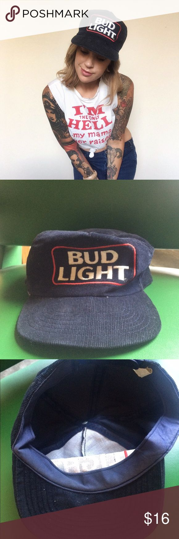 Bud Lite vintage corduroy hat This hat is just the best. Vintage corduroy Bud Lite hat in all its glory. Excellent condition, perfect for summer BBQs and parties. Get it before it's gone! Vintage Accessories Hats