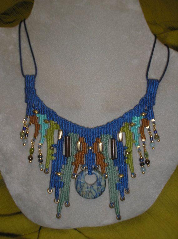 Blue Stone Woven Necklace 733 via Etsy