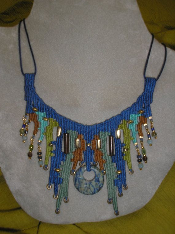 Blue Stone Woven Necklace 733 via Etsy
