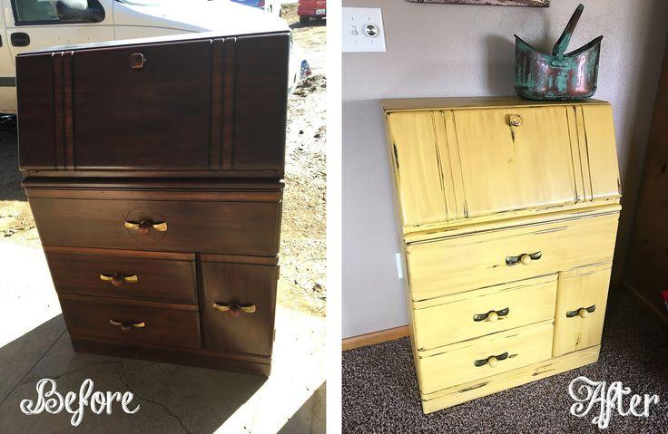 Vintage Secretary Desk. antique  secretary desk, secretary desk redo, yellow secretary desk, distressed secretary desk