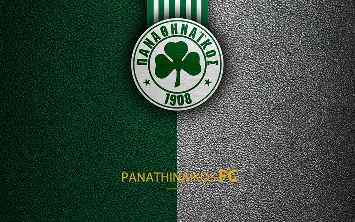 Download wallpapers Panathinaikos FC, 4k, logo, Greek Super League, leather texture, emblem, Athens, Greece, football, Greek football club