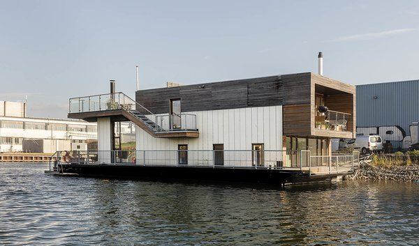 Photo 2 Of 7 In Picture Yourself In This Modern Danish Houseboat House Boat Floating House Floating House Design