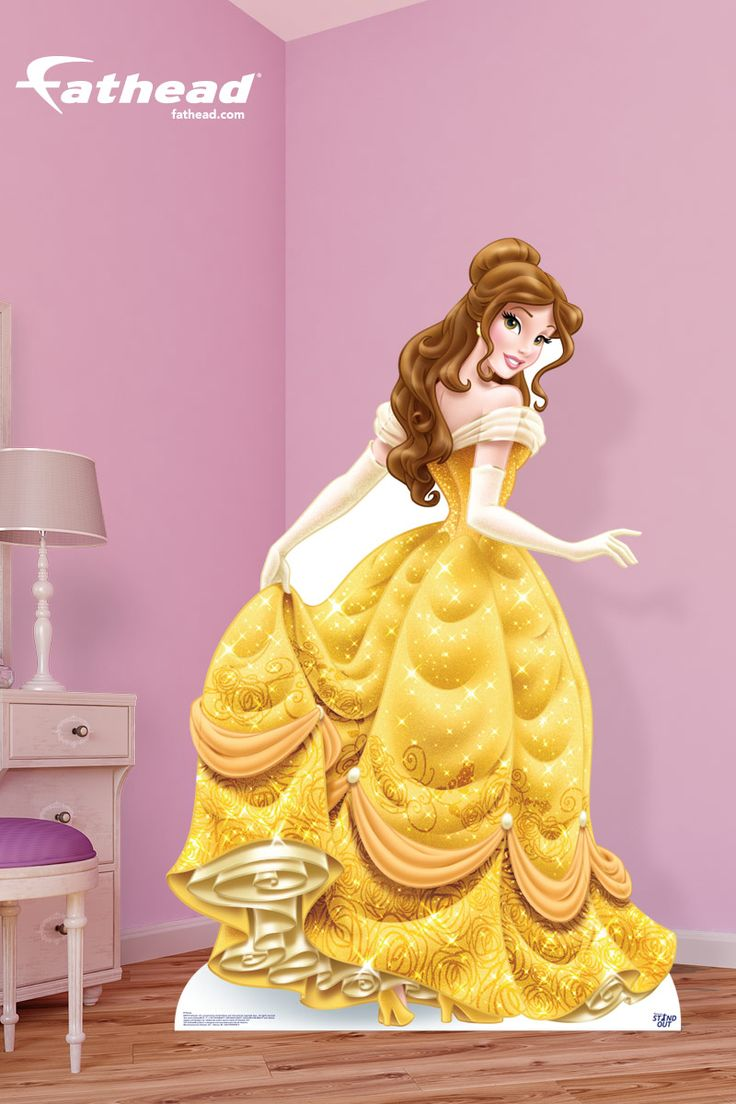 Disney Princess | A Fathead Stand Out is huge and features a hi-def image that blows away flimsy cardboard cutouts and standups. So forget Beauty and The Beast cardboard cutouts; Get a Belle Princess Stand Out! SHOP  http://www.fathead.com/disney/princesses/belle-stand-out-cut-out/ | Girl Bedroom Home Decor On A Budget | Kids DIY Bedroom Decor | Disney Decor