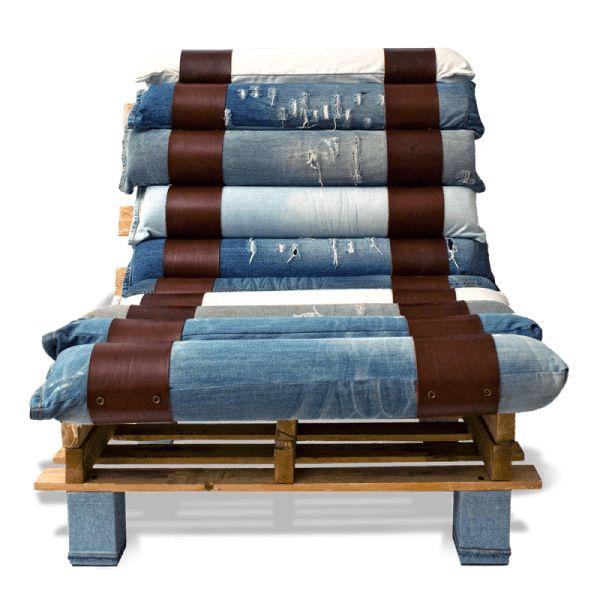 Lounge Chair aus Paletten und Denim