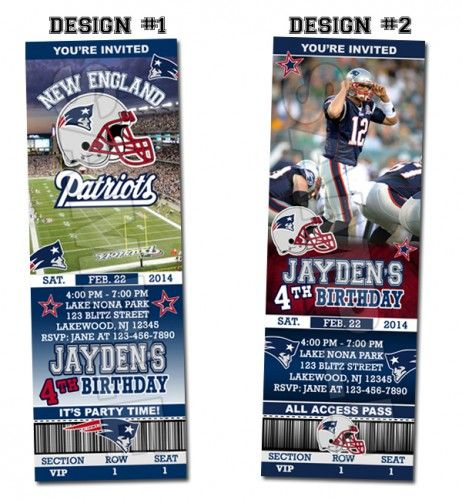 New England Patriots Ticket Birthday party invitations - Printable | BLiTzDesignz - Digital Art  on ArtFire
