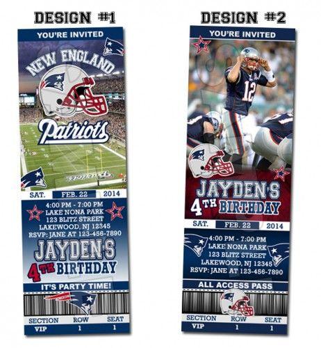 New England Patriots Ticket Birthday party invitations - Printable | BLiTzDesignz - Digital Art  on ArtFire