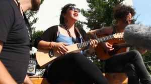 Carla Morrison performs with her band at The High Line in NYC.