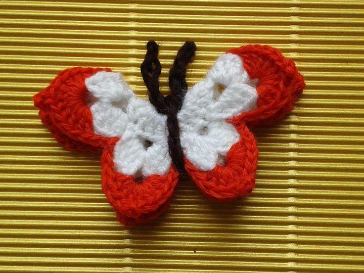 Бабочка крючком. Мастер-класс. Сrochet butterfly. Tutorial.