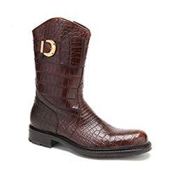 Caporicci Italian Mens Shoes Dark Gold Alligator Boots ART573 (CAP1025)