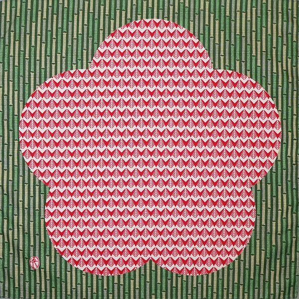 風呂敷 チーフ伊砂文様 松竹梅(赤)綿シャンタンふろしき(48cm)
