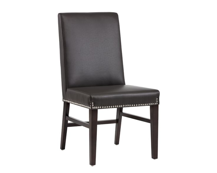 BROOKE DINING CHAIR   GREY LEATHER   A classic addition to any restaurant or home, this dining chair from our 5West collection features silver nailhead, a decorative polished steel square ring and espresso legs. Stocked in grey and ivory bonded leather. Stretchers added for extra durability.