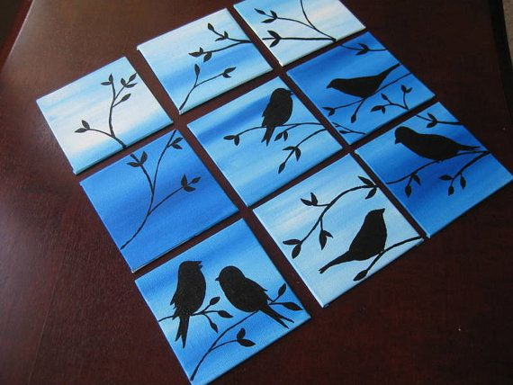 Birds painting set of 9 canvases small original blue by SheerJoy, $45.00